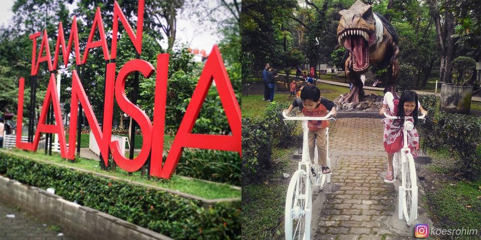 Patung Dinosaurus di Taman Lansia Bandung