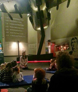 Story time under the Harrier Jump Jet at Imperial War Museum North in Manchester