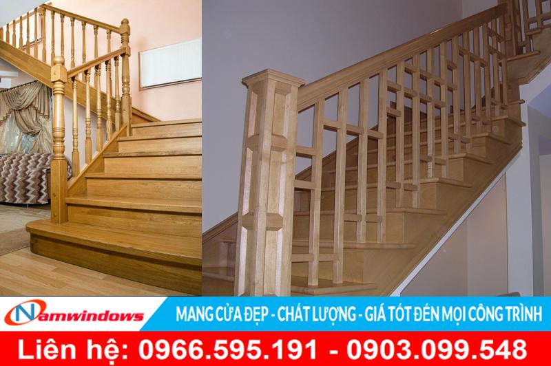 Mẫu cầu thang trụ gỗ đơn giản cho nhà phố