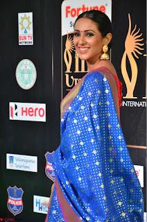 Priya Shree in Beautiful Blue Saree at IIFA Utsavam Awards 2017  Day 2    HD Exclusive Pics