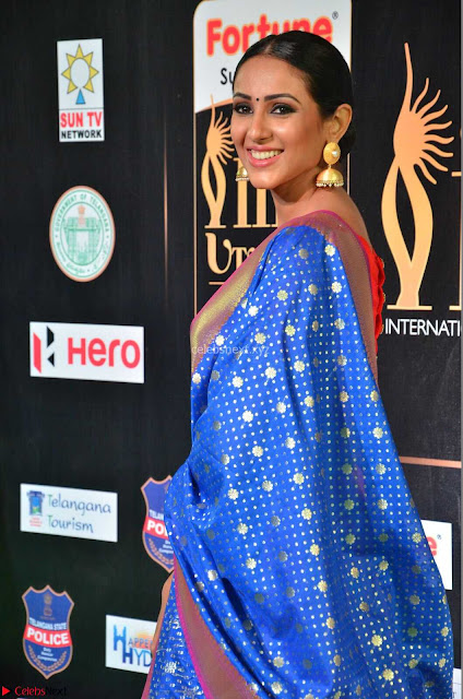 Priya Shree in Beautiful Blue Saree at IIFA Utsavam Awards 2017  Day 2    HD Exclusive Pics 02.JPG