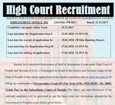 High Court of Punjab & Haryana Recruitment 2018