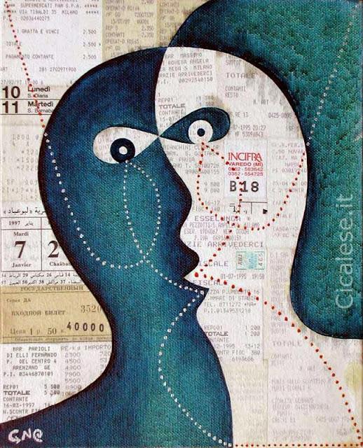 IGNORANZA VIRTUALE (1999) olio collage smalto su tela (30x24)