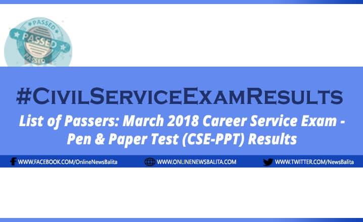 March 2018 Civil Service Exam Results CSE-PPT - Region 9