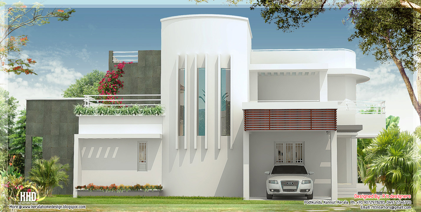2874 unique 4 bedroom house design kerala home for Interesting house designs