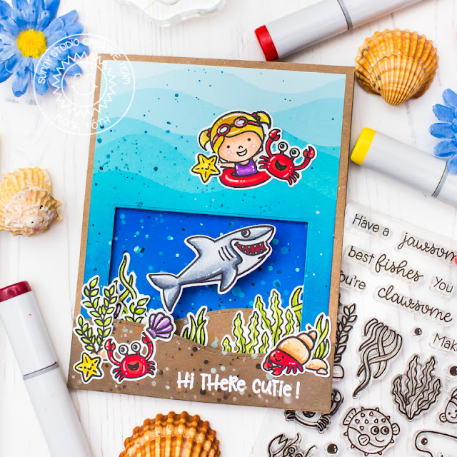 Sunny Studio Stamps: Coastal Cuties Best Fishes Woodland Border Dies Catch A Wave Dies Wrap Around Box Dies Summer Themed Cards by Franci Vignoli and Mona Toth