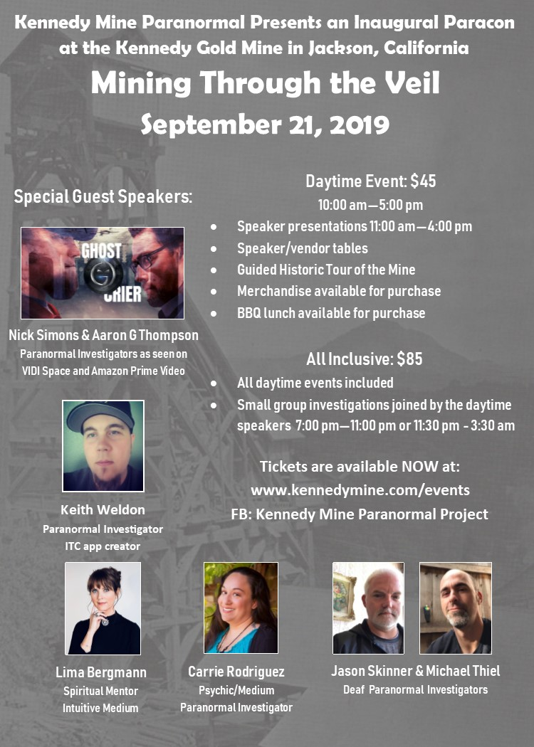"Paracon at the Kennedy Mine: ""Mining Through the Veil"" - Sat Sept 21"