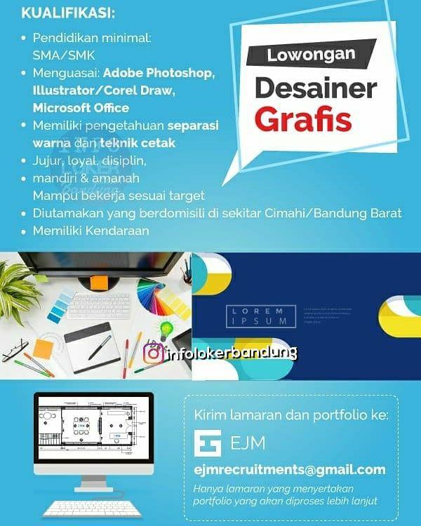Lowongan Kerja Desainer Grafis PT.EJM Bandung September 2018