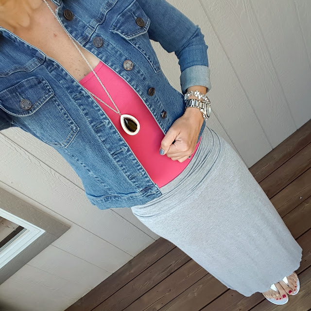 Kut from the Kloth Denim Jacket // Caslon Rib Knit Cotton Tank - on sale for $7.70 (reg $22) more colors here // Max Studio Ruched Skirt (almost exact on sale for $30, reg $44) // Nine West Sandals (similar - on sale for $16) // Michael Kors Runway Watch - on sale! (very similar for only $20)