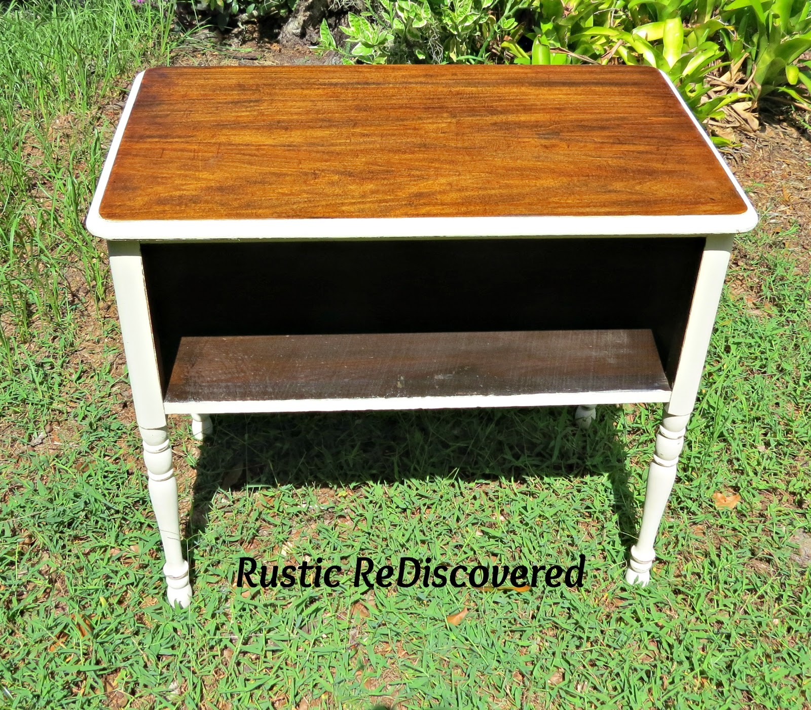 Rustic ReDiscovered Painted Hidden Storage Table