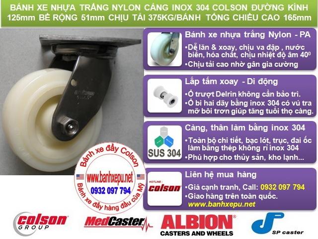 Bánh xe đẩy càng inox cho kho lạnh thủy sản colson phi 125 www.banhxepu.net