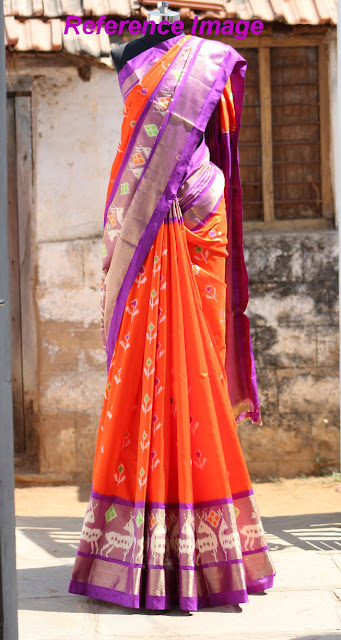 https://devihandlooms.com/shop/product/orange-color-pochampally-ikkath-silk-saree-with-purple-border/