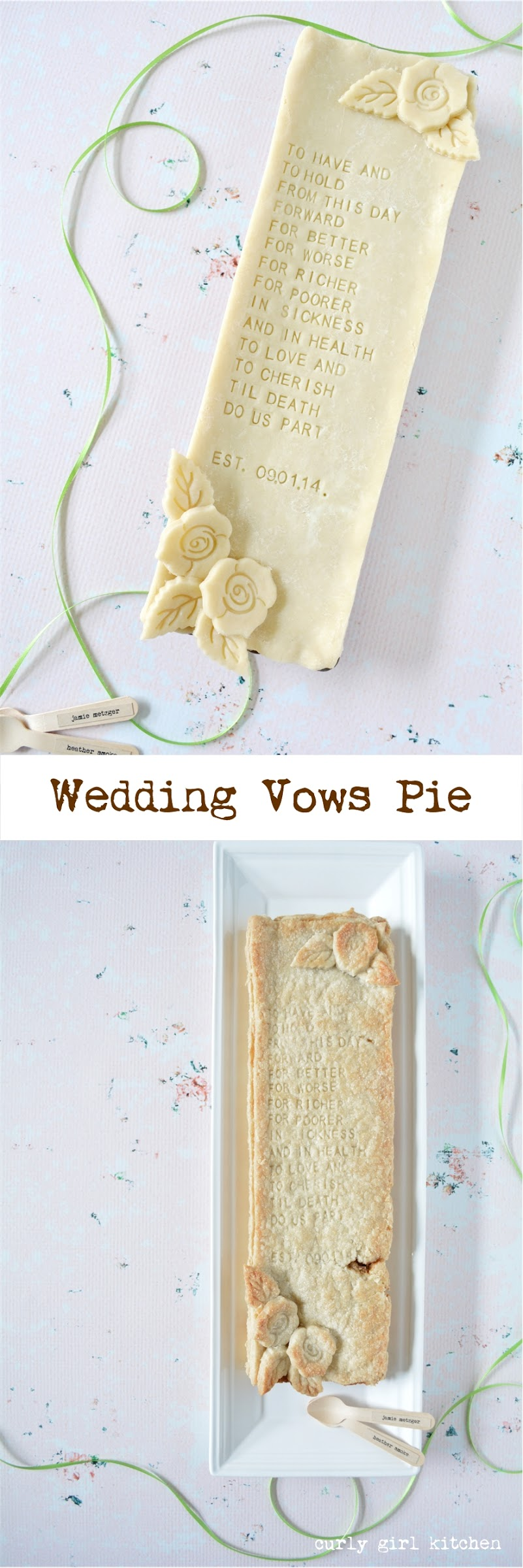 Wedding Vows, Pie, Pie Decorating Ideas, Wedding Pie, Alphabet Embossers