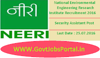 National Environmental Engineering Research Institute Recruitment 2016 for Security Assistant Apply Here