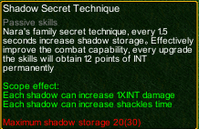 naruto castle defense 6.0 Shikamaru Shadow Secret Technique detail