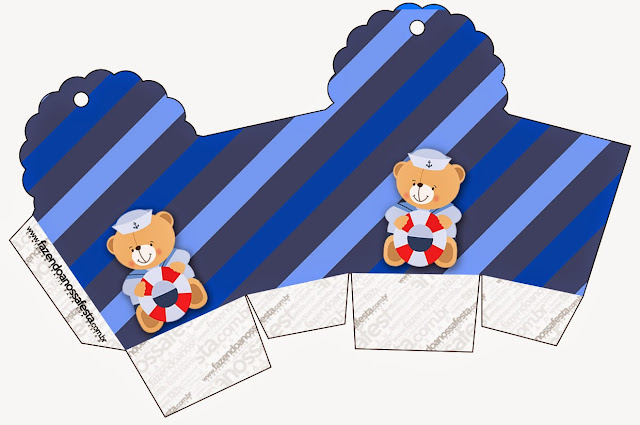 Caja para cupcakes, chocoltes o golosinas de Osito Marinero.