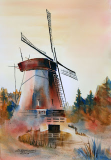 Dutch Windmill Watercolour by IDB