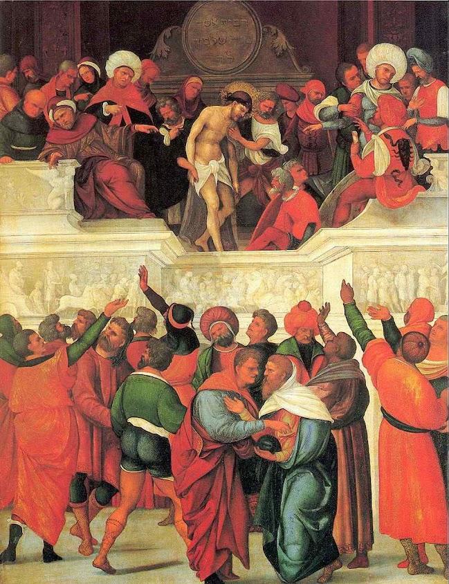 O Bom Jesus desce a escada após ouvir a iníqua condenação. Ludovico Mazzolino (1480 — 1528).