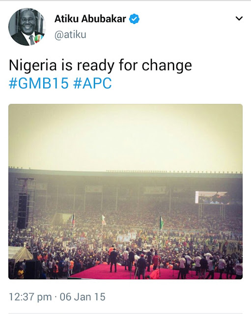 "Throwback to when Atiku Abubakar said ""Nigeria is ready for change"