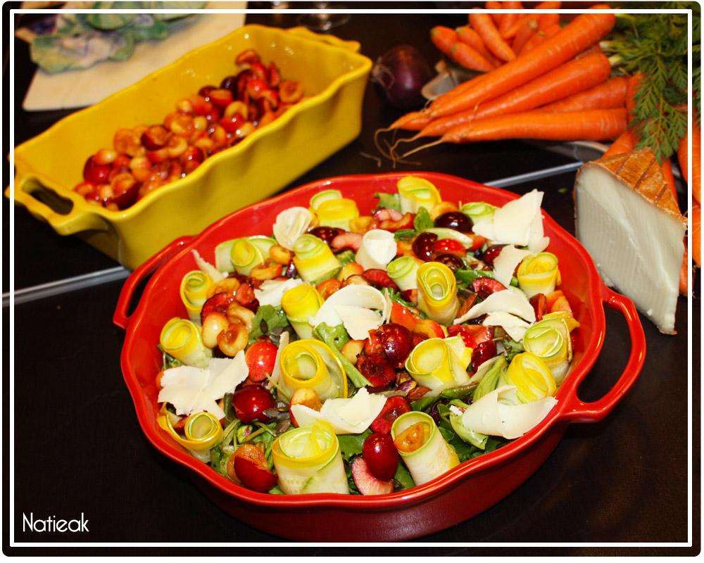 salade  Mesclun aux cerises, brebis et graines de courge