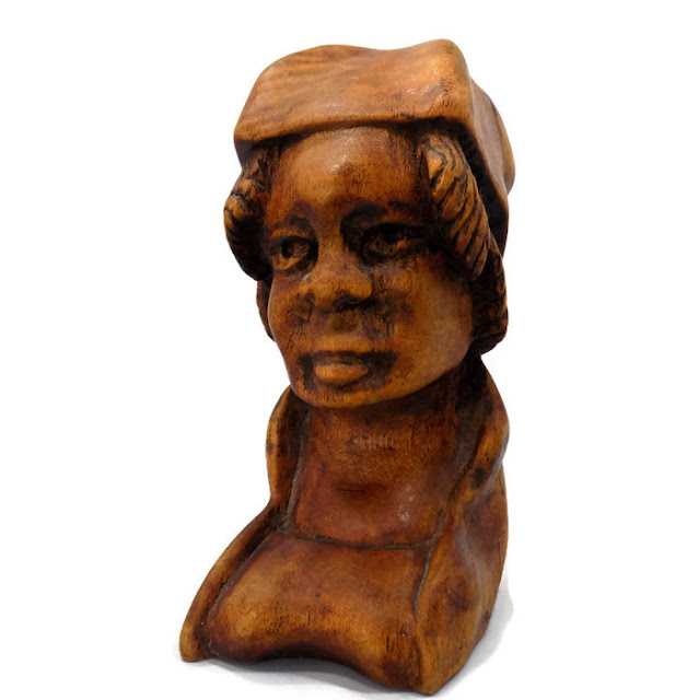 Antique Sculpture American Folk Art Carved African-American Woman