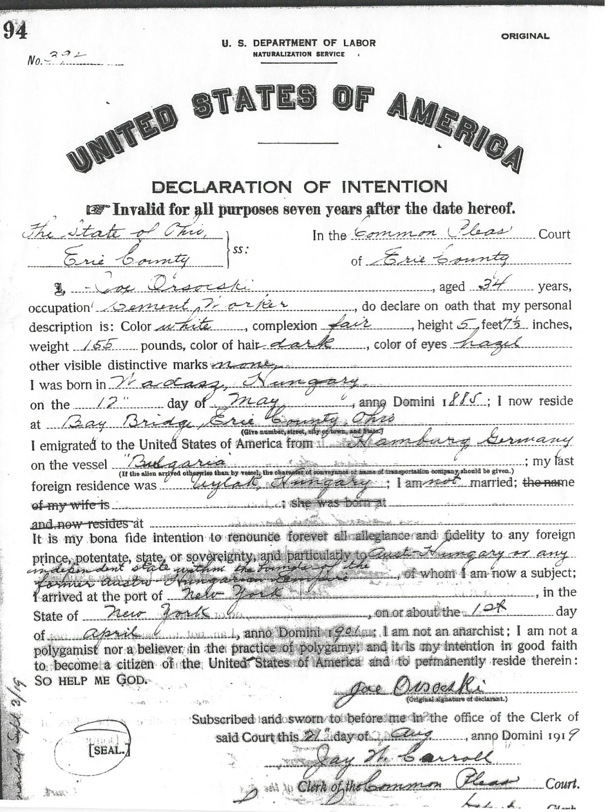Graveyard rabbit of sandusky bay 2017 my great grandfather joseph orsocskiorshoski filled out this declaration of intention at the clerk of common pleas court in erie county ohio on august 21 aiddatafo Image collections