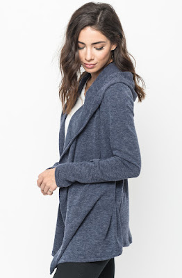 Buy Now navy  Hooded Cardigan Online $10 -@caralase.com