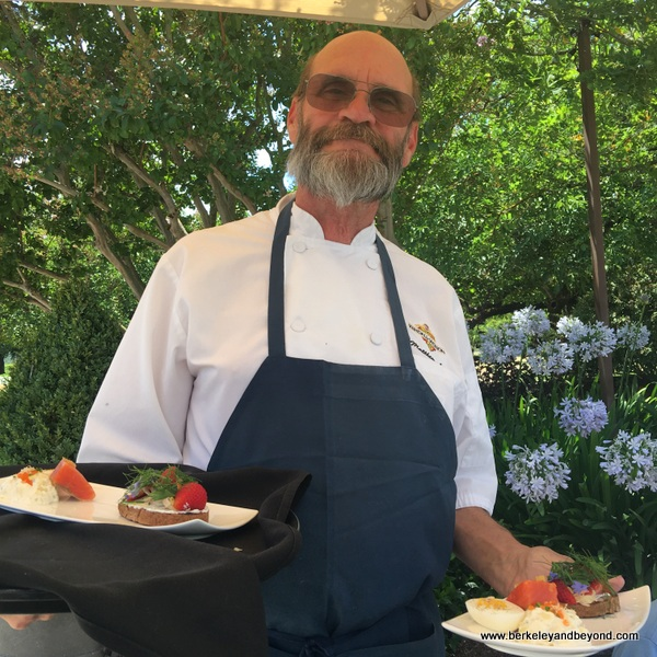 Chef Matthew Lowe delivers first course of paired tasting at Kendall-Jackson Wine Estate & Gardens in Fulton, California