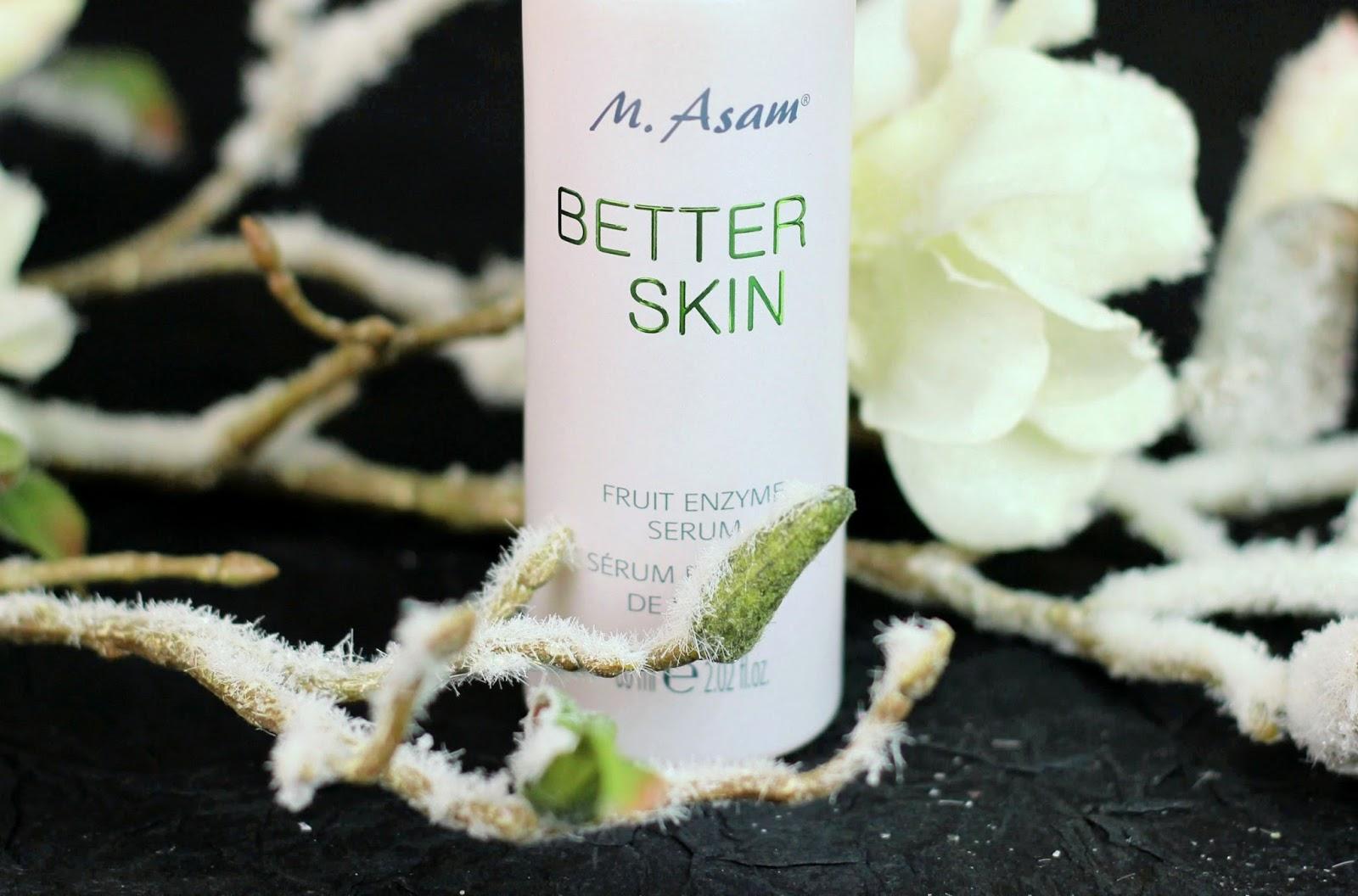 better skin, ebenmäßiger teint, Enzympeeling, frucht enzym serum, Fruchtsäure, fruchtsäurepeeling, gegen Pickel und Hautunreinheiten, hautpflege, m. asam, serum mit fruchtenzymen, verfeinertes Hautbild,