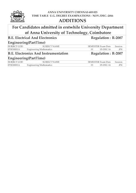 Anna University Nov/Dec 2016 Exams Additions 1 full details