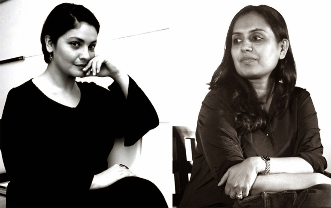 Director Pooja Bhatt and writer Shagufta Rafiq sitting together in a black-and-white frame