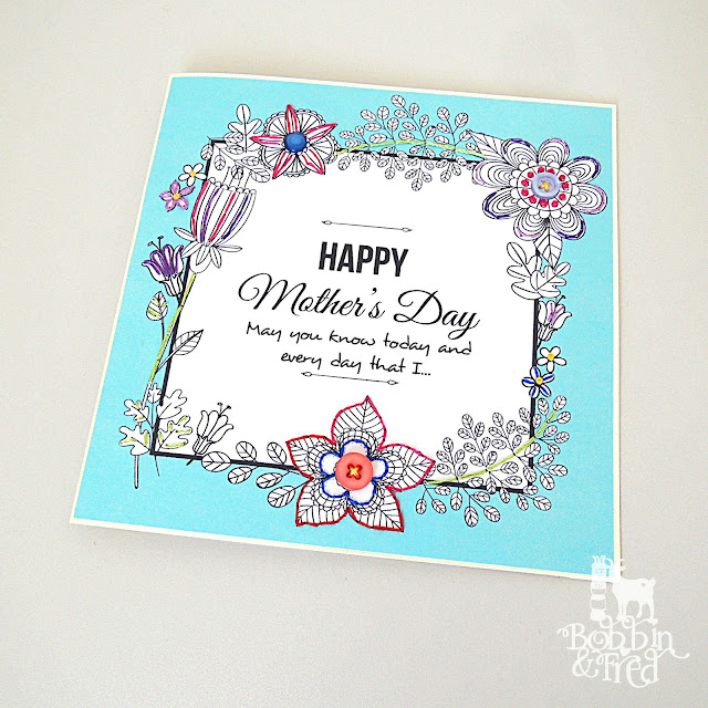 Floral and Sky Blue Embroidered Card by Bobbin and Fred