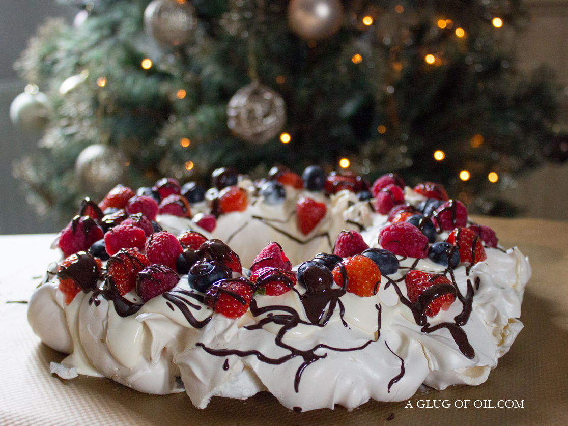 Berry and Chocolate Meringue Christmas Wreath