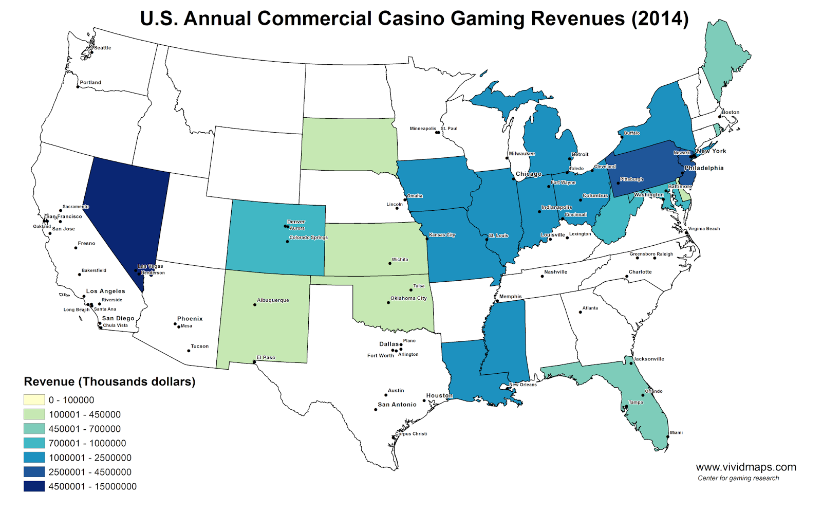 U.S. Annual Commercial Casino Gaming Revenues (2014)