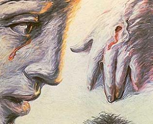 cuadro de Aute en el que se ve un rostro y una mano sobre un pubis