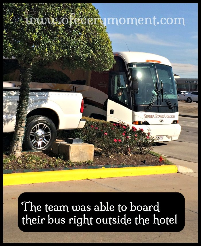 The bus was able to park right in front of the hotel for the kids to get on and off.