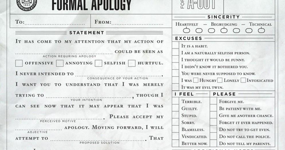 Lemon Harangue Pie: Standard apology form takes the hassle