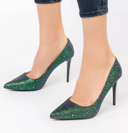 Pantofi verde smarald de ocazii cu toc cu glitter fashion la moda