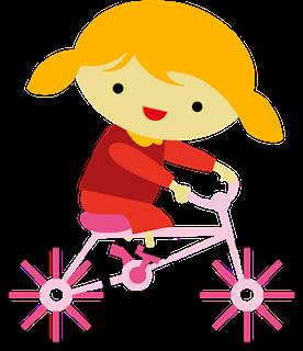 Clipart de Niños en Bicicleta.