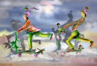 Trottinettes - art numérique par Catherine Boulogne
