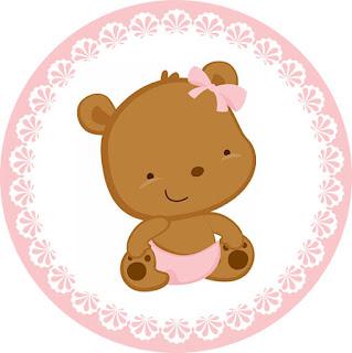 Toppers o Etiquetas para Imprimir Gratis de Osita Bebé en Rosa con Lunares.
