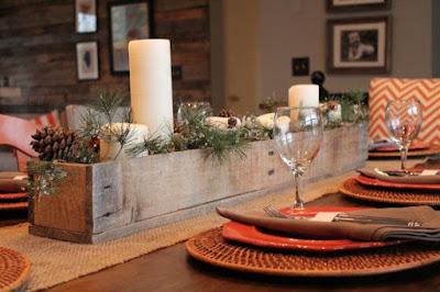 centro de mesa navideño caja de madera