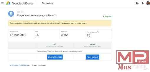 Lihat Status Eksperimen di AdSense