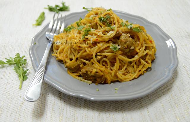 Meatball Mushroom Spaghetti