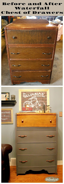 before and after two toned vintage waterfall chest of drawers wood and painted dresser makeover general finishes