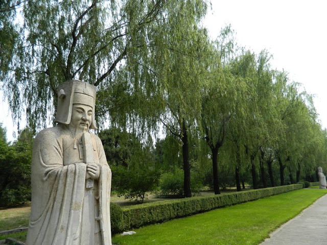 Ming Tombs statue along Sacred Way path by garden muses: a Toronto gardening blog
