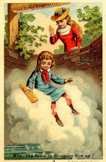boy rising from well on cloud of soap bubbles as older sister waits above