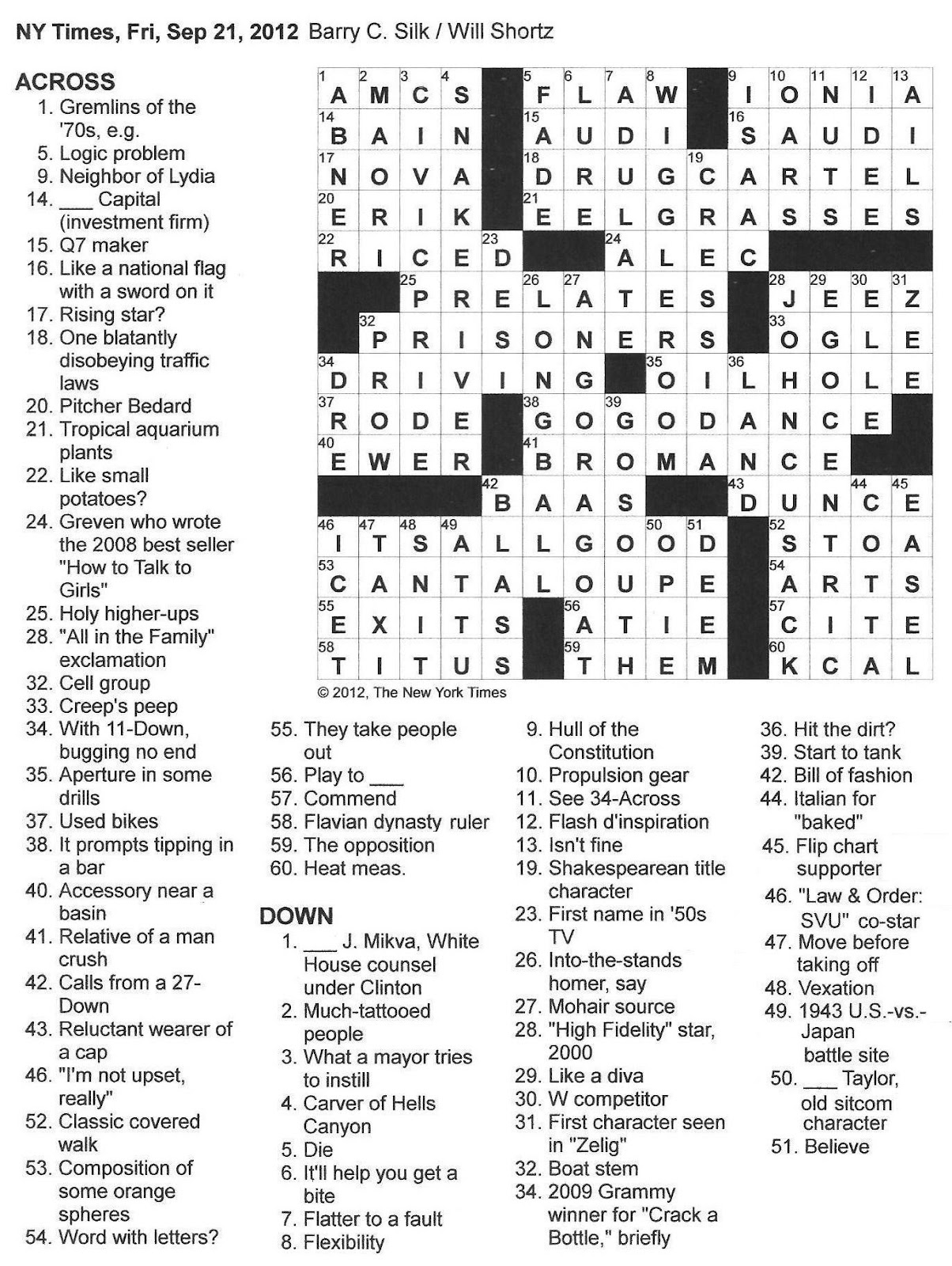 The New York Times Crossword in Gothic: 09.21.12 — No-Bainer