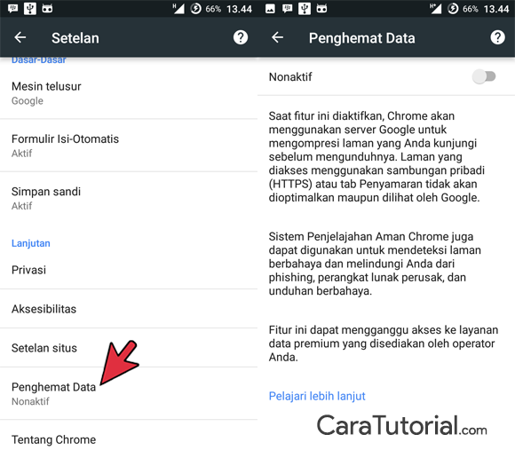 Opsi penghemat data chrome