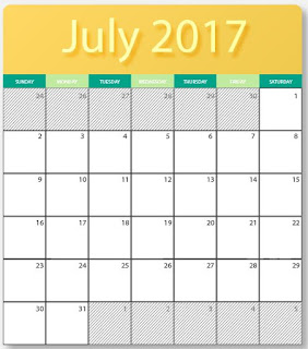 printables two 2017 July blank calendars  - editable in photoshop, jpg, and illustrator formats with HQ photos . for free download.